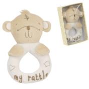 Cute Button Corner Bear Plush Ring Rattle In Gift Box