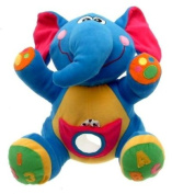 Blue elephant soft toy and baby rattle with teething ring - sensory and learning toy for baby