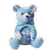 Cute patchwork teddy figurine 65 mm - blue