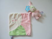Comfy Bear Comforter in Pink - baby's comforter 'blankie' with detachable squeaking teddy bear toy