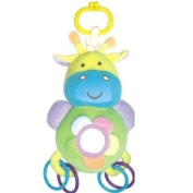Soft Toy - shakes when pulled - With Rings and a mirror for baby