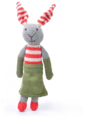 ChunkiChilli Organic Cotton Rabbit Toy - Stripe Ears/Green Dress