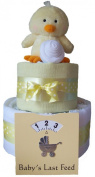 Unisex yellow 2 Tier deep filled nappy cake hamper baby gift