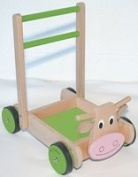 Wooden Cow Baby Walker with Blocks