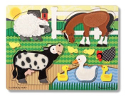 Melissa & Doug Wooden Touch And Feel Puzzle - Farm Animals