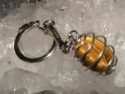 Tiger Eye Spiral Gemstone Crystal Cage Keyring