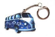 VW Campervan Keyring - Blue Flower Hippy Design - VW8