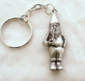 Garden Gnome Key-ring (keychain) in Fine English Pewter, Handmade