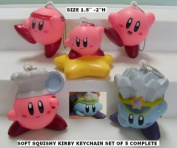Kirby Soft Foam Figure Keychain ~ Set of 5 Complete ~ Size 36mm to 50mm