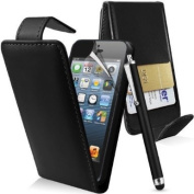 Apple Iphone 5 Premium Black Top Flip PU Leather Case + Screen Protector + Polishing Cloth & Capacitive Touch Screen Stylus By Connect Zone TM