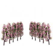 20pcs Scenery Landscape Train Model Trees w/ Pink and Green Flowers Scale 1/200