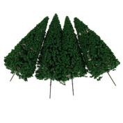 10pcs Scenery Landscape Model Cedar Trees 12cm---Dark Green