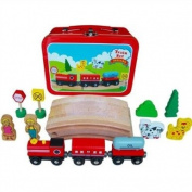 Wooden Circular train set in tin travel case