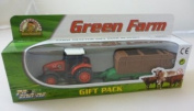 6.5cm Diecast Red Farm Tractor And Trailer Gift Pack Playset