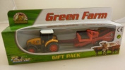 6.5cm Diecast Yellow Farm Tractor And Trailer Gift Pack Playset