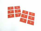 Mini Sticker Pack, 33x20mm Rectangle, Self-Stick Isle Of Man Labels , Isle Of Man Flag Stickers