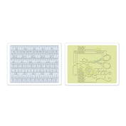 Sizzix 657671 Sizzix Textured Impressions Embossing Folders 2-Pkg-Sewing and Measuring Tape