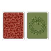 SIZZIX BY ELLISON Texture Fades Embossing Folders By Tim Holtz 2/Pkg Holly Pattern & Wreath
