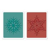 Sizzix Textured Impressions Embossing Folders 2/Pkg-Hero Arts Snowflakes
