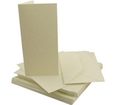 50 x DL Ivory Hammered Cards & Envelopes
