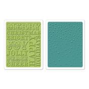 Sizzix Textured Impressions Embossing Folders 2/Pkg-Hero Arts Christmas Words & Dots