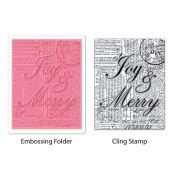 SIZZIX BY ELLISON Textured Impressions Embossing Folder & Stamp Set Hero Arts Joy & Merry