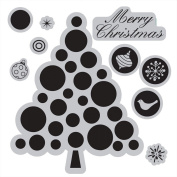 Sizzix Framelits Dies 8/Pkg With Cling Stamps-Merry Christmas Tree