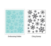 Sizzix Textured Impressions A2 Embossing Folder & Stamp Set-Snowflake Background By Hero Arts