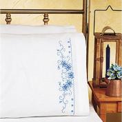 Janlynn Blue Floral Pillowcase Pair Stamped Cross Stitch, 50cm x 80cm