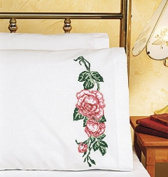 Roses Pillowcase Pair Stamped Cross Stitch-50cm X80cm
