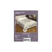 Colonial Stencil Stamped Cross Stitch Quilt , 230cm x 260cm Double
