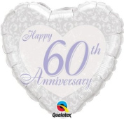 "Happy 60th Anniversary"" Foil Balloon - Pearl Heart"