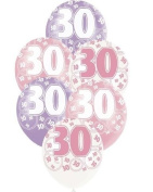 Pink Glitz Age 30 Happy Birthday 30cm Latex Balloons - Pack of 6- Assorted Colours