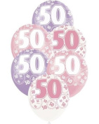 Pink Glitz Age 50 Happy Birthday 30cm Latex Balloons - Pack of 6 - Assorted Colours