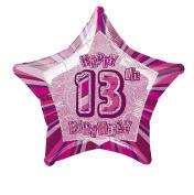 Pink Glitz Age 13 Happy Birthday 50cm Prismatic Foil Balloon