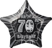 50cm Foil Glitz Black Happy 70th Birthday Balloon