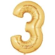 Gold Number 3 Foil Balloon - 91cm