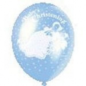 5 Christening Blue 30cm Latex Balloons