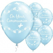 On Your Communion floral Latex Balloon Blue