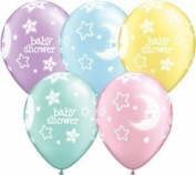 Baby Shower Moon & Stars Pearl Pastel Assorted Qualatex Latex 28cm Balloons x 5