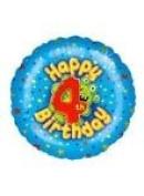 Happy Fourth Birthday Boys Foil Balloon