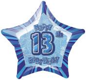 Blue Glitz Age 13 Happy Birthday 50cm Prismatic Foil Balloon