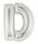 Silver Letter D Foil Balloon - 90cm