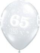 Age 65/65th Birthday Diamond Clear 28cm Latex Balloons x 25