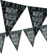 Black Glitz Happy Birthday 3.7m Flag Banner