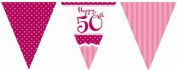 Perfectly Pink Party Happy 50th Birthday Paper Flag Bunting - 3.7m