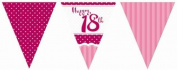 Perfectly Pink Party Happy 18th Birthday Paper Flag Bunting - 3.7m