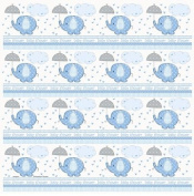 Blue Baby Shower Umbrellaphants Roll of Gift Wrap 80cm x 5'