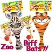 Party Bag toys : 4 x Zoo Animal Wooden Biff Bat and ball game