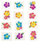 Pack of 12 - Hawaiian Flowers Temporary Tattoos - Great Party Loot Bag Fillers